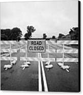 Road Closed And Highway Barrier Due To Flooding Iowa Usa United States Of America Canvas Print