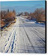 Road In Winter Canvas Print by Gabriela Insuratelu