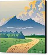 Road Leading To Mountains Canvas Print by Aloysius Patrimonio