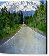 Road Leading To Snow Covered Mount Shasta Canvas Print