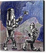 Rocket Man And Robot Canvas Print by Mel Thompson