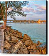 Rocks And Water Longboat Pass Bridge Canvas Print by Jenny Ellen Photography