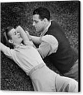 Romantic Couple Lying On Grass, (b&w), Elevated View Canvas Print
