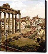 Rome, Ruins Of The Temple Of Saturn Canvas Print by Everett