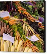 Root Vegetables At The Market Canvas Print by Heather Applegate