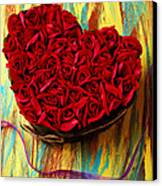 Rose Heart And Ribbon Canvas Print by Garry Gay