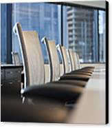 Row Of Chairs And A Table In A Conference Room Canvas Print