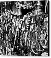 Rows Of Metal Shisha Pipe Arabic Tobacco Smoking Water Pipes On A Stall In The Market In Nabeul  Canvas Print