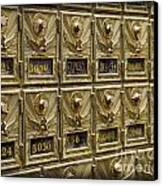 Rows Of Post Office Mailboxes With Combination Locks And Brass O Canvas Print