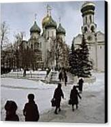 Russian Women, Dressed In Black, Walk Canvas Print