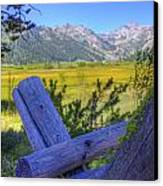 Rustic Moss Covered Pioneer Era Fence In Olympic Valley California Canvas Print