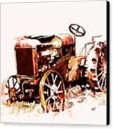 Rusty Tractor In The Snow Canvas Print by Suni Roveto