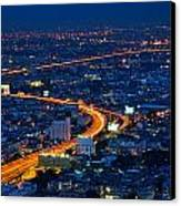 S Curve At Bangkok City Night Scene Canvas Print by Arthit Somsakul