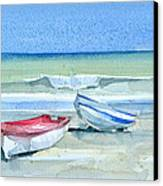 Sabinillas Fishing Boats Canvas Print by Stephanie Aarons