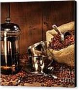 Sack Of Coffee Beans With French Press Canvas Print