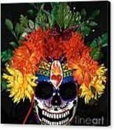 Sacred Heart Sugar Skull Mask Canvas Print by Mitza Hurst