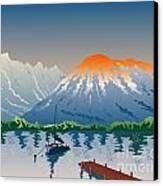 Sailboat Jetty  Mountains Retro Canvas Print