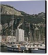 Sailboats Moored In Gibraltar Bay Canvas Print by Lynn Abercrombie