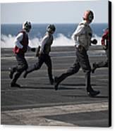 Sailors Clear The Landing Area Canvas Print