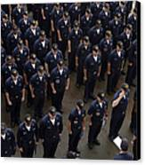 Sailors Stand At Attention During An Canvas Print