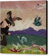 Saint Francis And The Birds Canvas Print by Nicole Besack