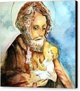 Saint Joseph And Child Canvas Print by Myrna Migala