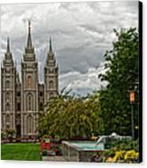 Salt Lake City Temple Grounds Canvas Print by La Rae  Roberts