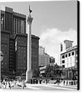 San Francisco - Union Square - 5d17933 - Black And White Canvas Print by Wingsdomain Art and Photography