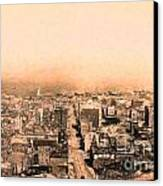 San Francisco Skyline 1909 . Ferry Building And Alcatraz Canvas Print by Wingsdomain Art and Photography