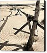 Sand And Fences Canvas Print by Heather Applegate