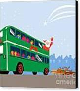Santa Claus Double Decker Bus Canvas Print by Aloysius Patrimonio