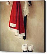 Santa Costume With Boots On Coathook Canvas Print