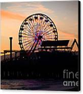 Santa Monica Pier Ferris Wheel Sunset Canvas Print by Paul Velgos