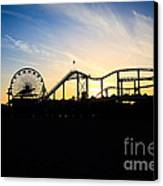 Santa Monica Pier Sunset Photo Canvas Print by Paul Velgos
