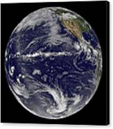 Satellite Image Of Earth Centered Canvas Print by Stocktrek Images