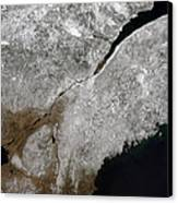 Satellite View Of A Frosty Landscape Canvas Print by Stocktrek Images