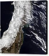 Satellite View Of Northeast Japan Canvas Print by Stocktrek Images