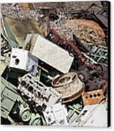 Scrap Metal In Scrap Yard Canvas Print by Jeremy Woodhouse