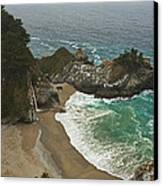 Seascape And Waterfall At Julia Pfeiffer Burns State Park Canvas Print