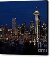 Seattle In The Evening Canvas Print by Alan Clifford