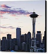 Seattle Skyline At Dusk Canvas Print