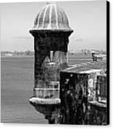 Sentry Tower Castillo San Felipe Del Morro Fortress San Juan Puerto Rico Black And White Canvas Print by Shawn O'Brien