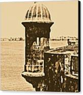 Sentry Tower Castillo San Felipe Del Morro Fortress San Juan Puerto Rico Rustic Canvas Print by Shawn O'Brien