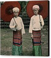 Shan Women Wearing Traditional Colorful Canvas Print