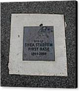 Shea Stadium First Base Canvas Print by Rob Hans