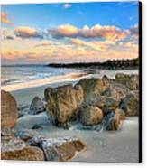 Shoreline Folly Beach Canvas Print by Jenny Ellen Photography