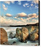 Shoreline Rocks And Fence Posts Folly Beach Canvas Print by Jenny Ellen Photography