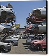 Shot Of Junkyard Cars Canvas Print