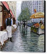 Shower On Sixth  Avenue Canvas Print by Victor Zucconi