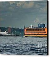 Shuttle Enterprise Glides Past Staten Island Ferry Canvas Print by Tom Callan